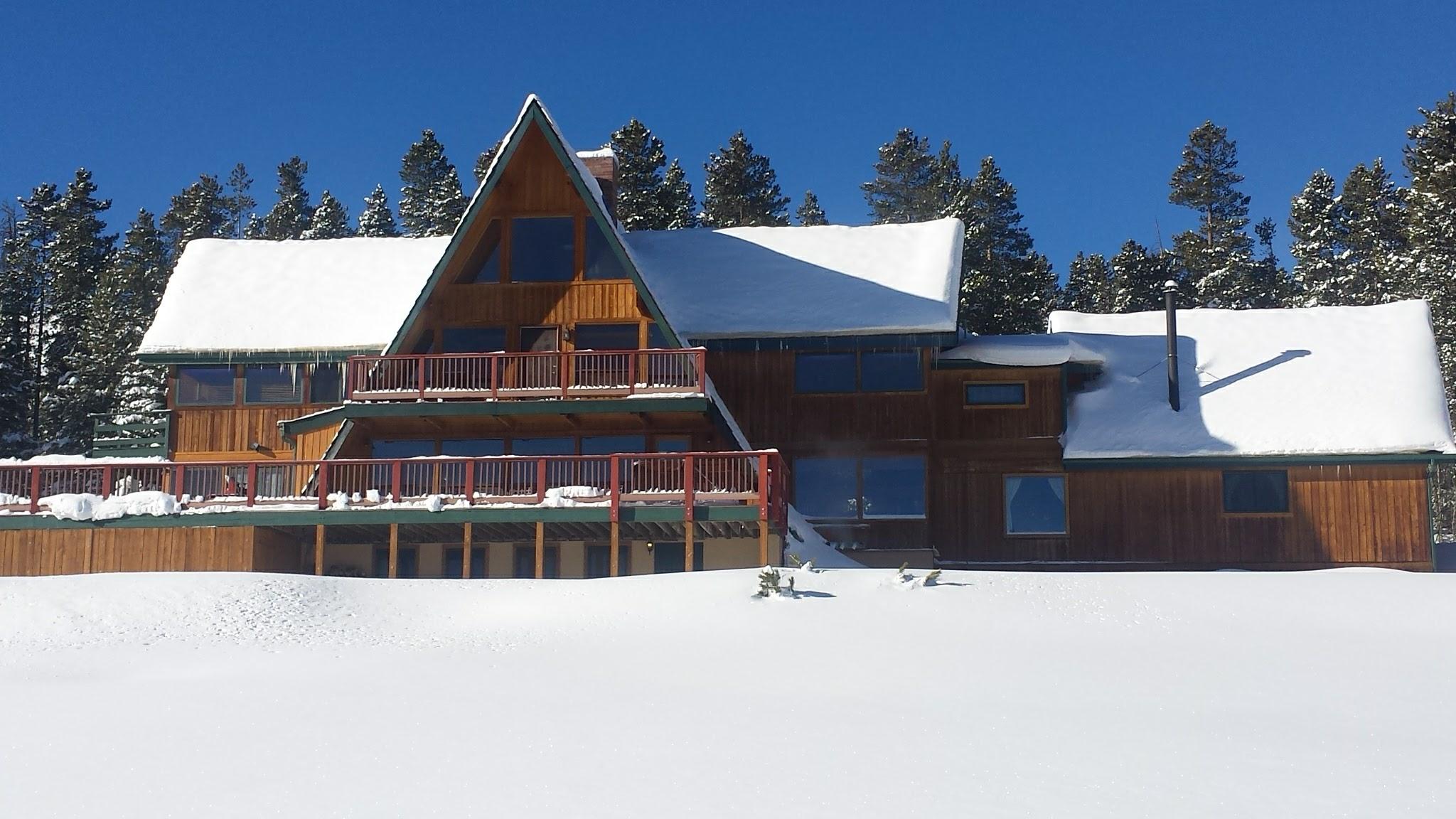 Winter exterior view of large rental house on Peak 7 in Breckenridge