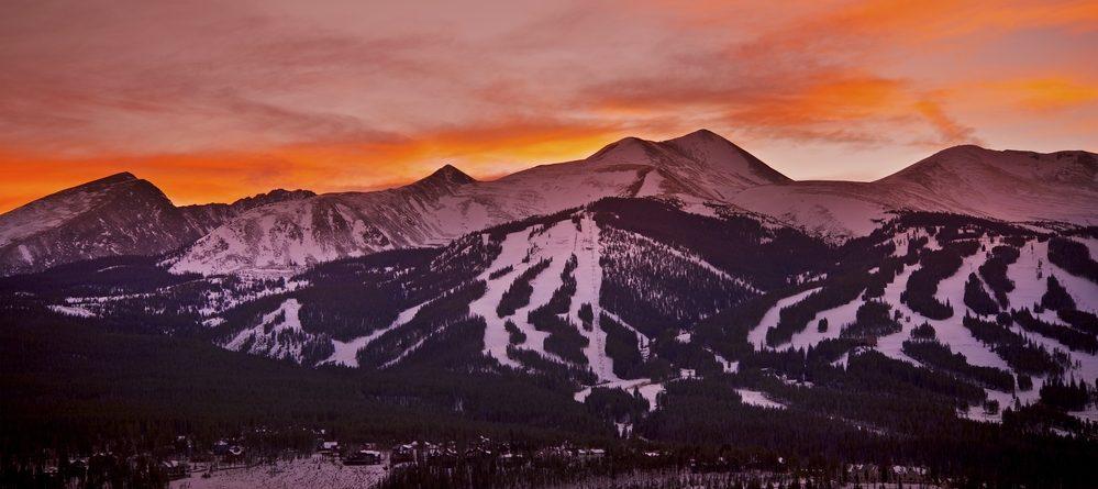 winter sunset of Breckenridge Ski Resort