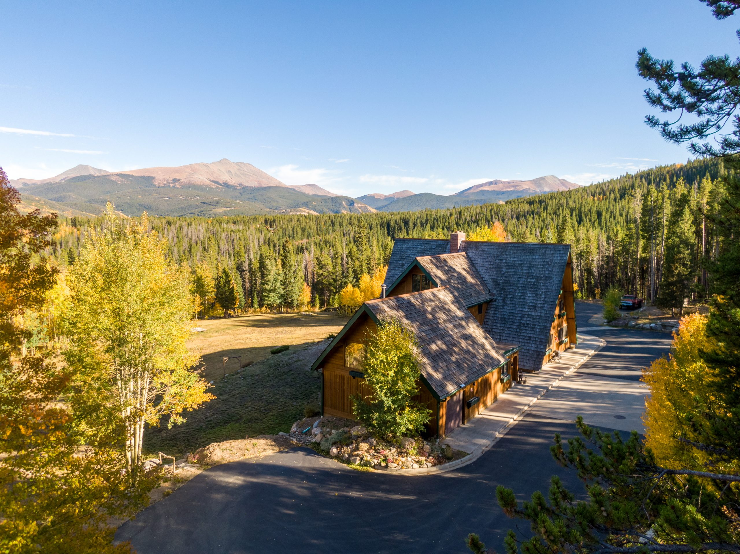 Fall aerial view of wedding venue on Peak 7 in Breckenridge