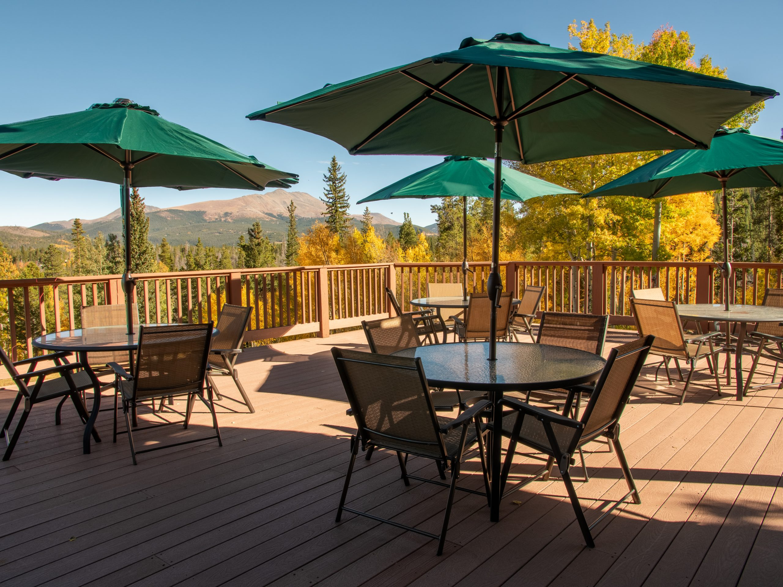 Fall panoramic views from a deck on Peak 7 in Breckenridge